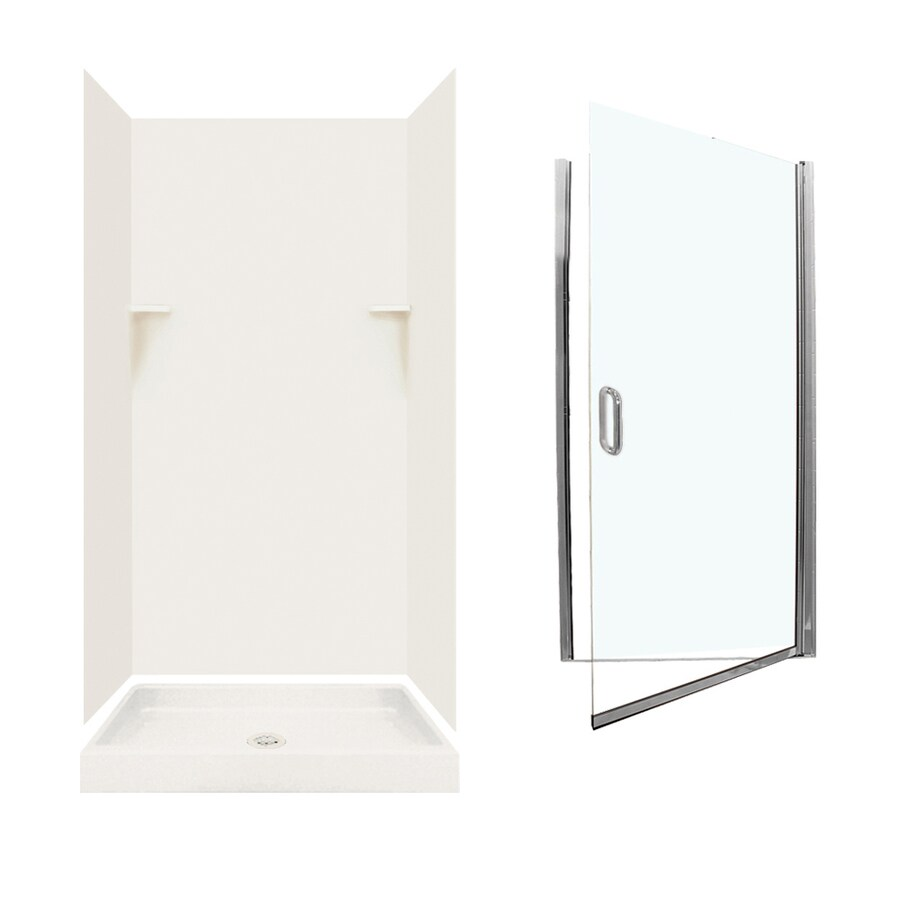 Swanstone Bisque Solid Surface Wall and Floor 5-Piece Alcove Shower Kit (Common: 36-in x 36-in; Actual: 72-in x 35-in x 35.125-in)