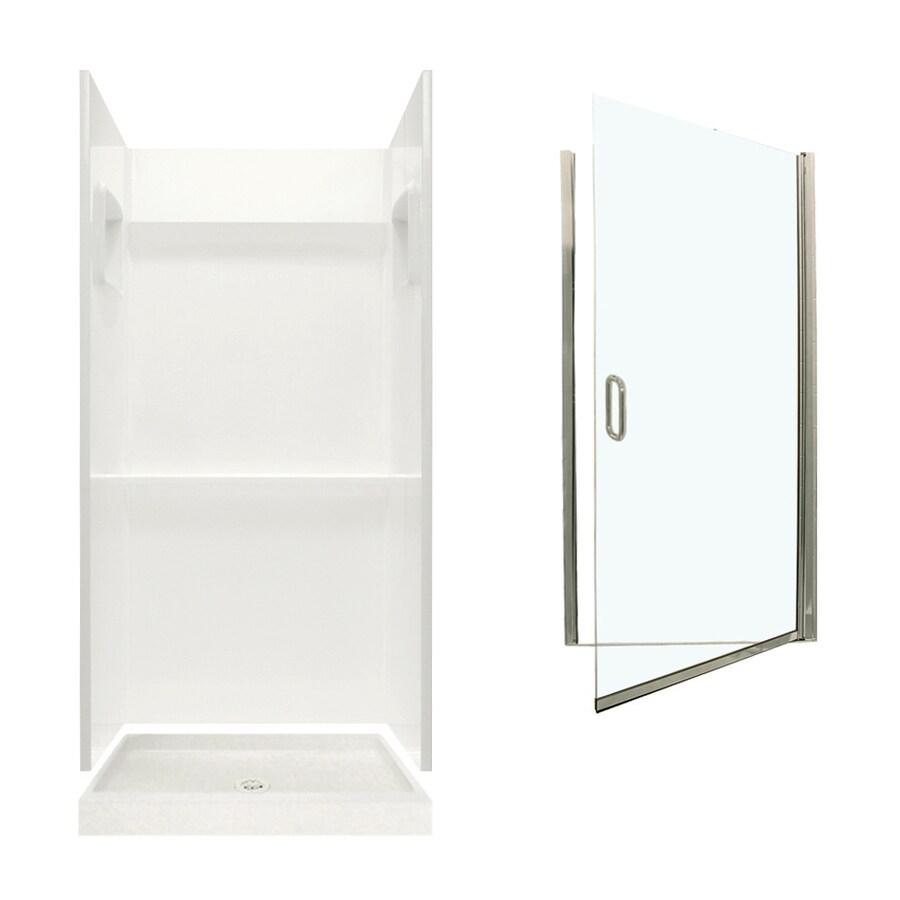 Swanstone Veritek Bisque Fiberglass/Plastic Wall and Floor 3-Piece Alcove Shower Kit (Common: 36-in x 36-in; Actual: 73.25-in x 36-in x 36-in)
