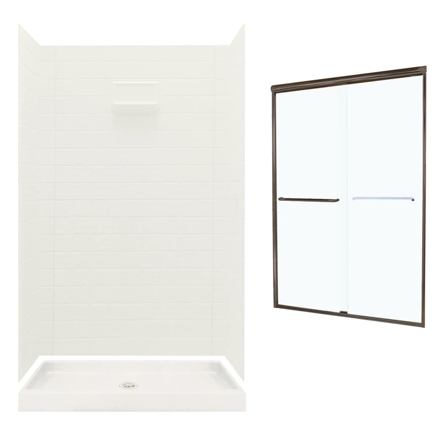 Swanstone Veritek Bisque Fiberglass/Plastic Wall and Floor 5-Piece Alcove Shower Kit (Common: 48-in x 34-in; Actual: 71.625-in x 46.6875-in x 34.75-in)