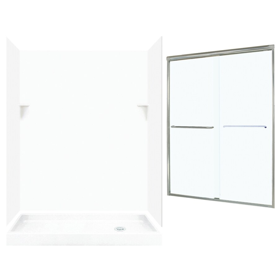 Swanstone White Solid Surface Wall and Floor 5-Piece Alcove Shower Kit (Common: 60-in x 32-in; Actual: 72-in x 59-in x 31.125-in)