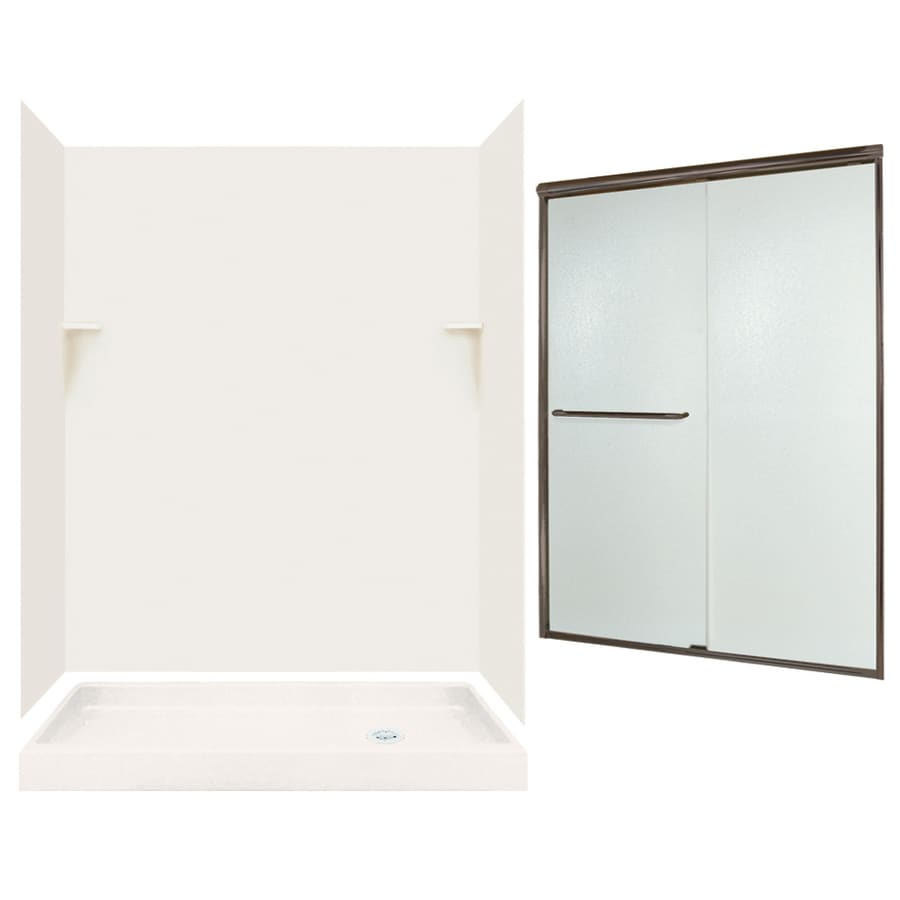 Swanstone Bisque Solid Surface Wall and Floor 5-Piece Alcove Shower Kit (Common: 60-in x 32-in; Actual: 72-in x 59-in x 31.125-in)