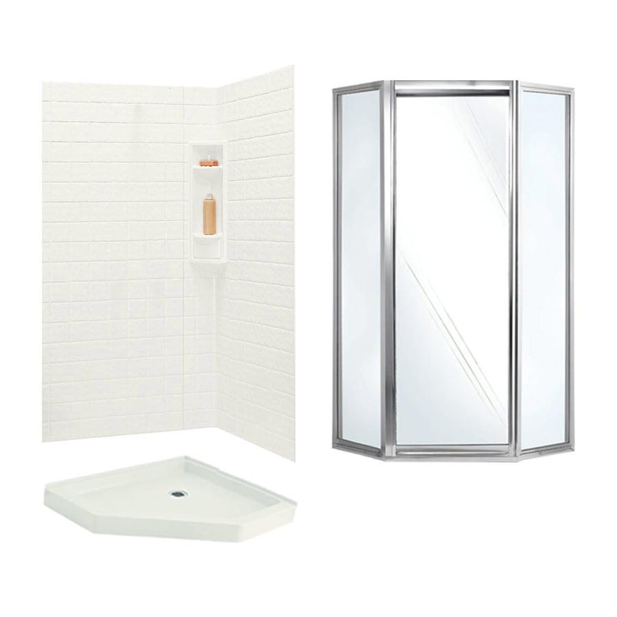 Swanstone Veritek Bisque Fiberglass/Plastic Wall and Floor Neo-Angle 3-Piece Corner Shower Kit (Actual: 71.625-in x 38.75-in x 38.75-in)