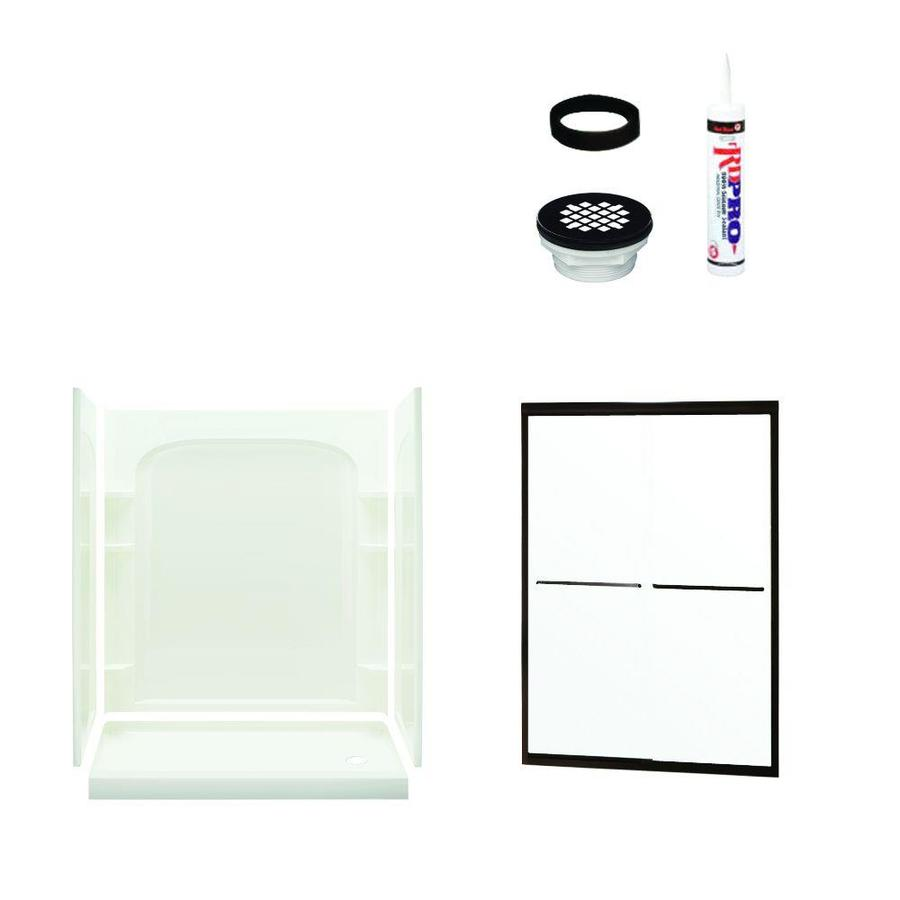 Sterling Ensemble White Vikrell Wall and Floor 5-Piece Alcove Shower Kit (Common: 60-in x 30-in; Actual: 73.75-in x 60-in x 30-in)