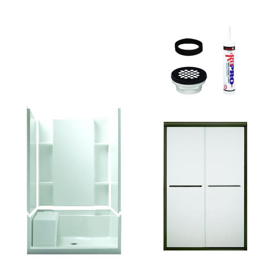 Sterling Accord White Vikrell Wall and Floor 5-Piece Alcove Shower Kit (Common: 48-in x 36-in; Actual: 74.5-in x 48-in x 36-in)