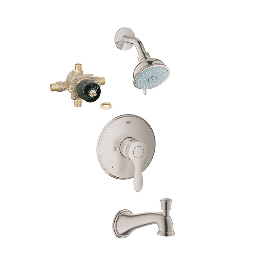 GROHE Parkfield Brushed Nickel 1-Handle Bathtub and Shower Faucet with Multi-Function Showerhead