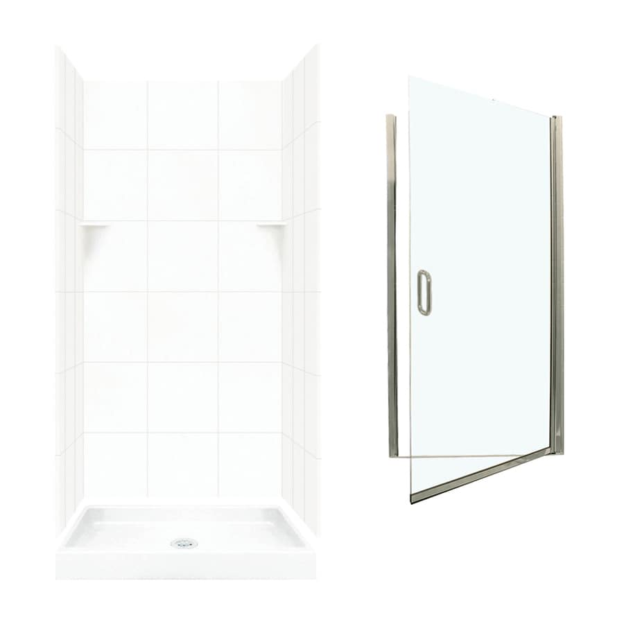 Swanstone White Solid Surface Wall and Floor 5-Piece Alcove Shower Kit (Common: 36-in x 36-in; Actual: 72.5-in x 36-in x 36-in)