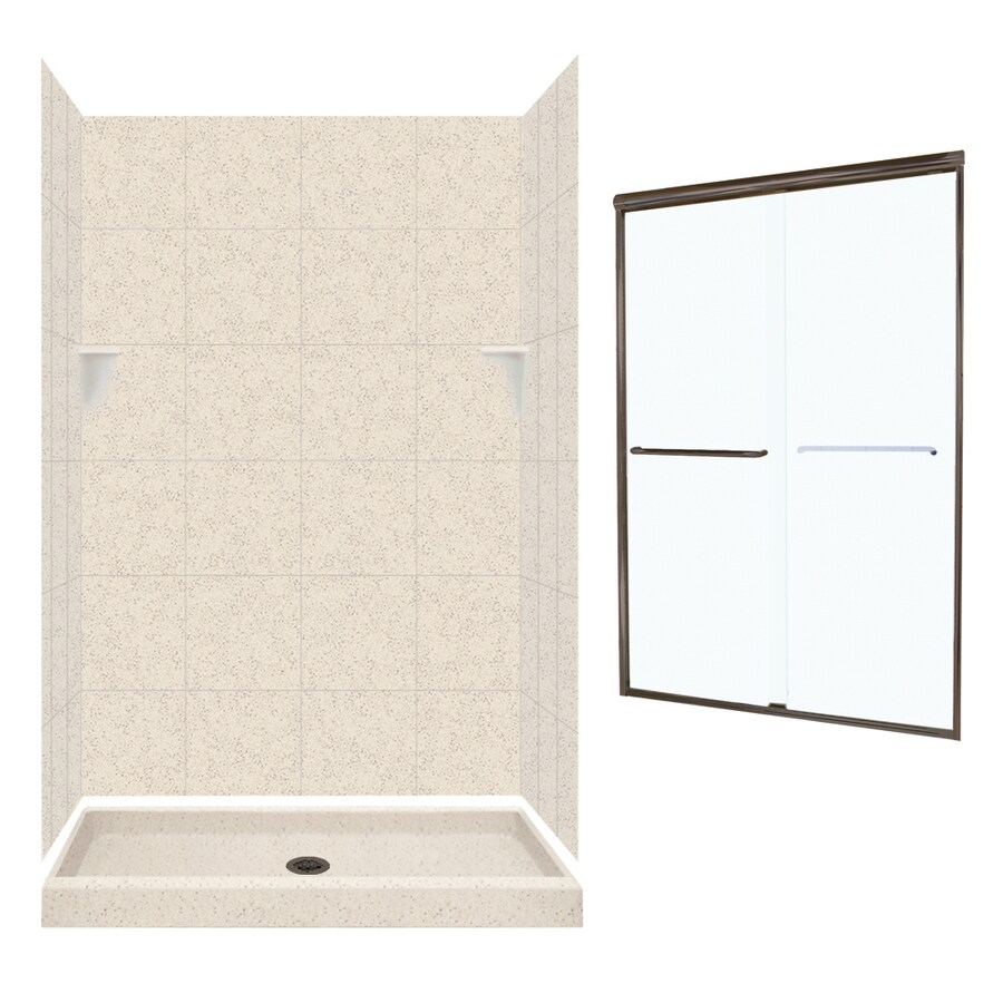 Swanstone Tahiti Desert Solid Surface Wall and Floor 5-Piece Alcove Shower Kit (Common: 48-in x 32-in; Actual: 72.5-in x 48-in x 32-in)