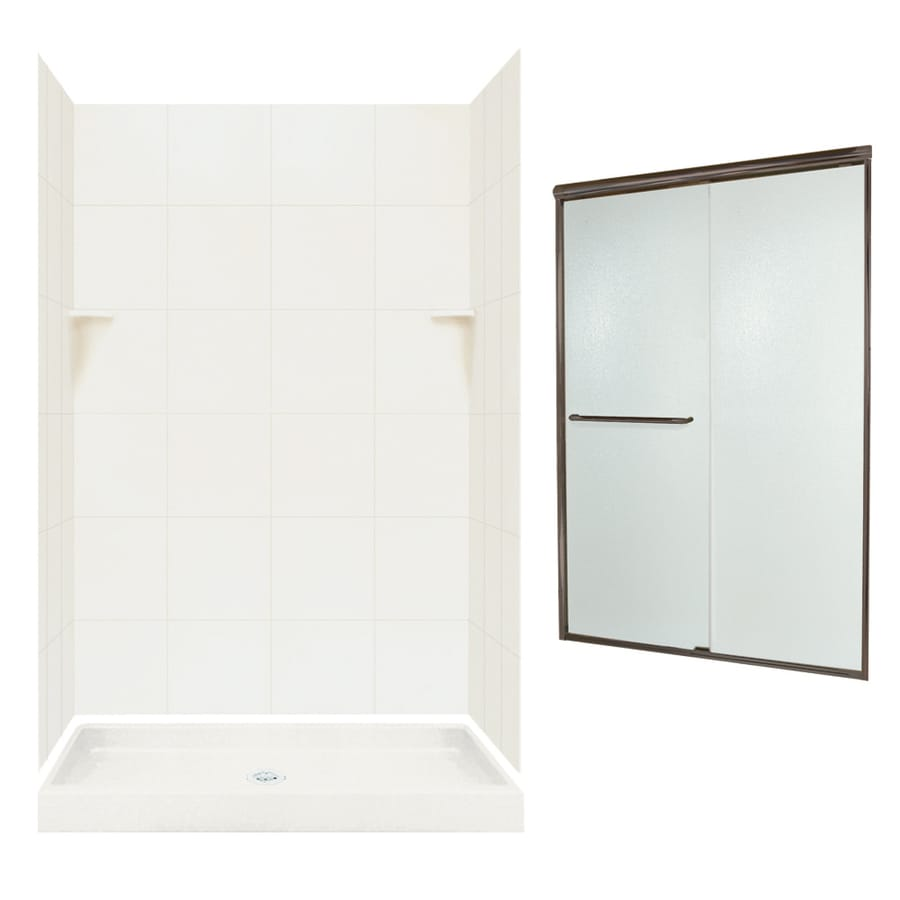 Swanstone Bisque Solid Surface Wall and Floor 5-Piece Alcove Shower Kit (Common: 48-in x 34-in; Actual: 72.5-in x 48-in x 34-in)