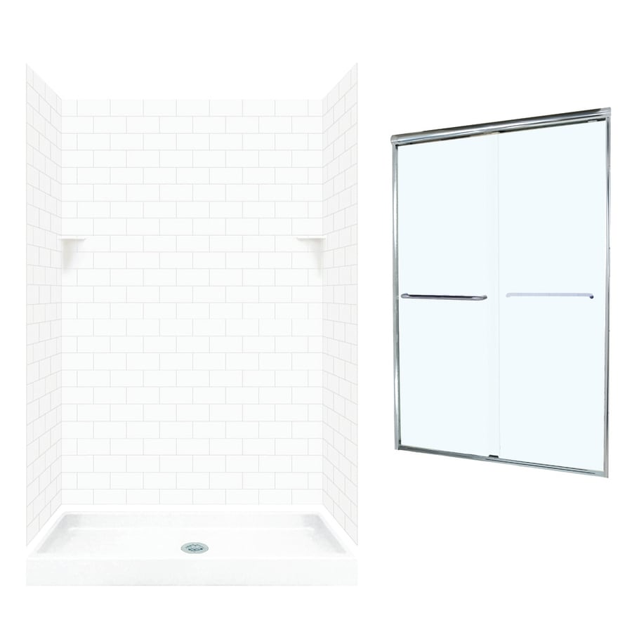 Swanstone White Solid Surface Wall and Floor 5-Piece Alcove Shower Kit (Common: 48-in x 34-in; Actual: 72.5-in x 48-in x 34-in)