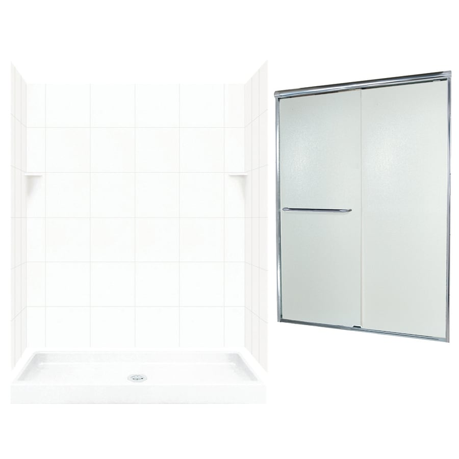 Swanstone White Solid Surface Wall and Floor 5-Piece Alcove Shower Kit (Common: 60-in x 34-in; Actual: 72.5-in x 60-in x 34-in)