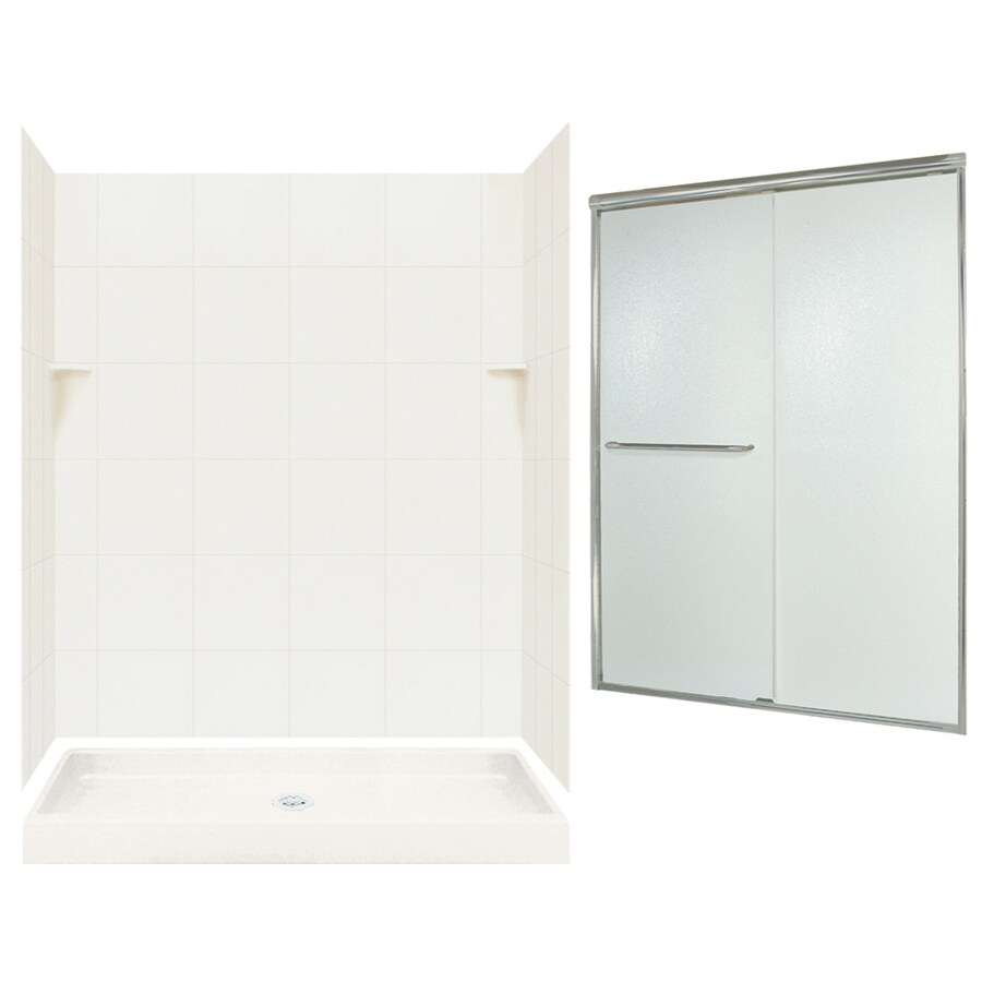 Swanstone Bisque Solid Surface Wall and Floor 5-Piece Alcove Shower Kit (Common: 60-in x 34-in; Actual: 72.5-in x 60-in x 34-in)