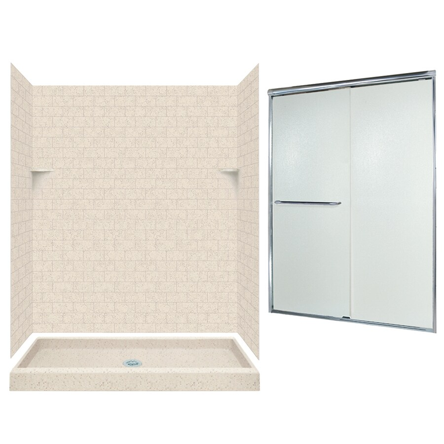 Swanstone Tahiti Desert Solid Surface Wall and Floor 5-Piece Alcove Shower Kit (Common: 60-in x 34-in; Actual: 72.5-in x 60-in x 34-in)