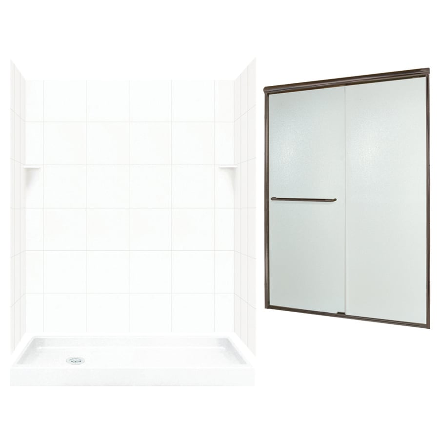 Swanstone White Solid Surface Wall and Floor 5-Piece Alcove Shower Kit (Common: 60-in x 32-in; Actual: 72.5-in x 60-in x 32-in)