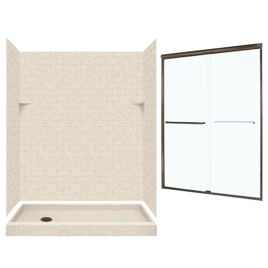 Swanstone Tahiti Desert Solid Surface Wall and Floor 5-Piece Alcove Shower Kit (Common: 60-in x 32-in; Actual: 72.5-in x 60-in x 32-in)
