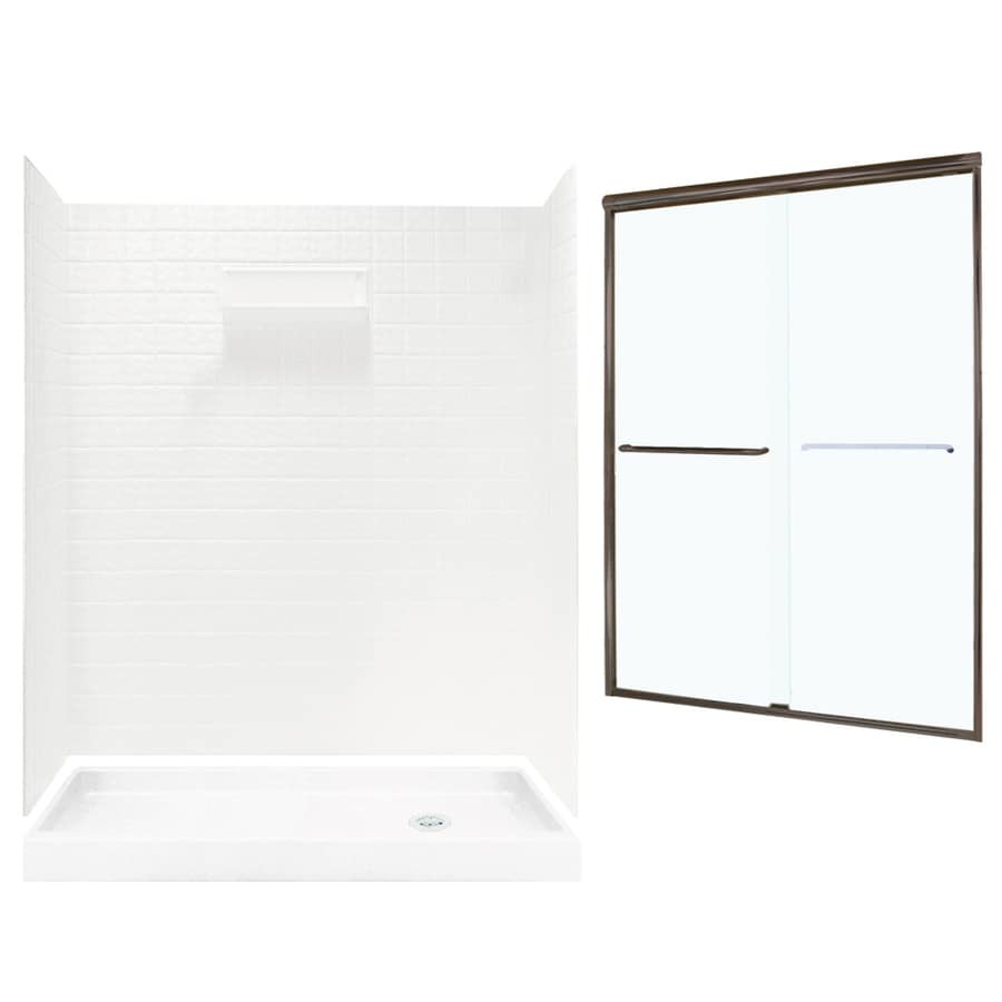Swanstone Veritek White Fiberglass/Plastic Wall and Floor 5-Piece Alcove Shower Kit (Common: 60-in x 32-in; Actual: 71.625-in x 58.6875-in x 34.75-in)