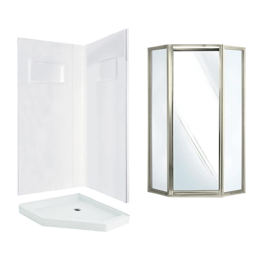Shop Swanstone Veritek White Fiberglass Plastic Wall And Floor Neo Angle 3 Pi