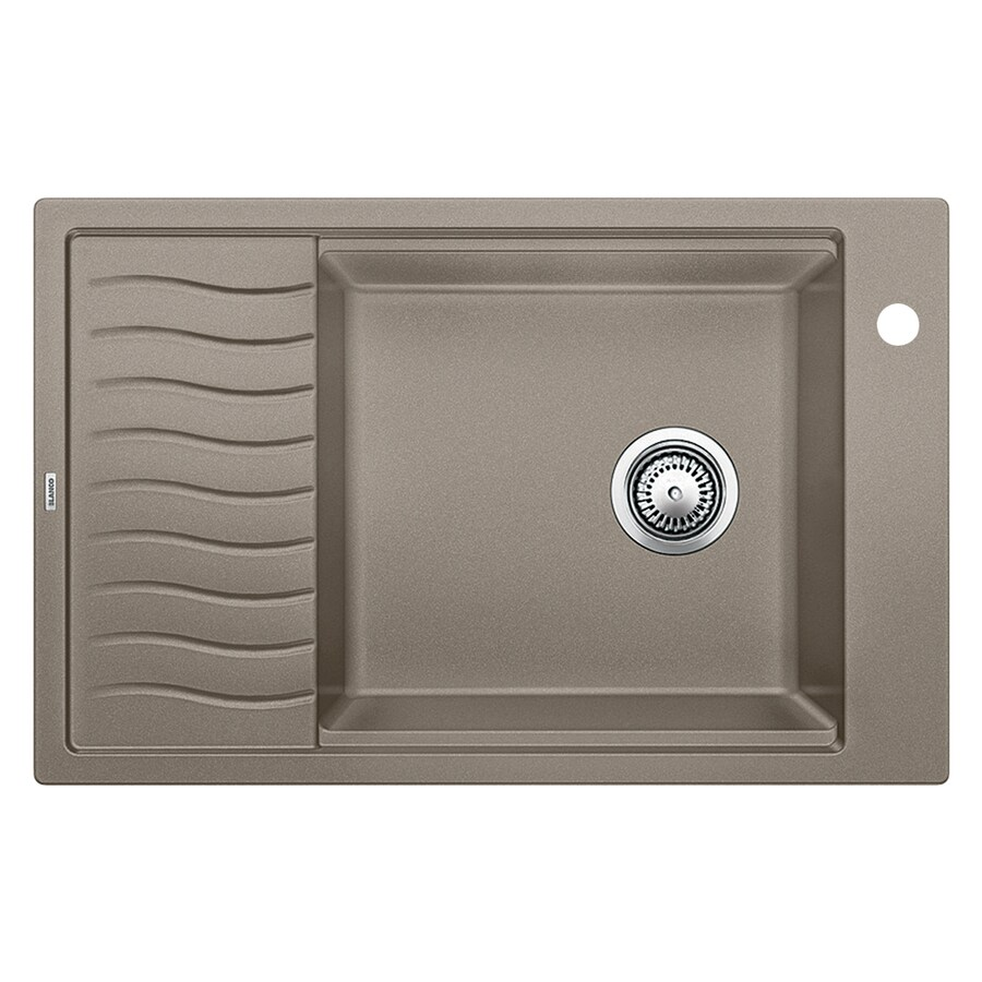 BLANCO Precis 19.6875-in x 30.6875-in Truffle Single-Basin Granite Drop-in or Undermount 1-Hole Residential Kitchen Sink with Drainboard