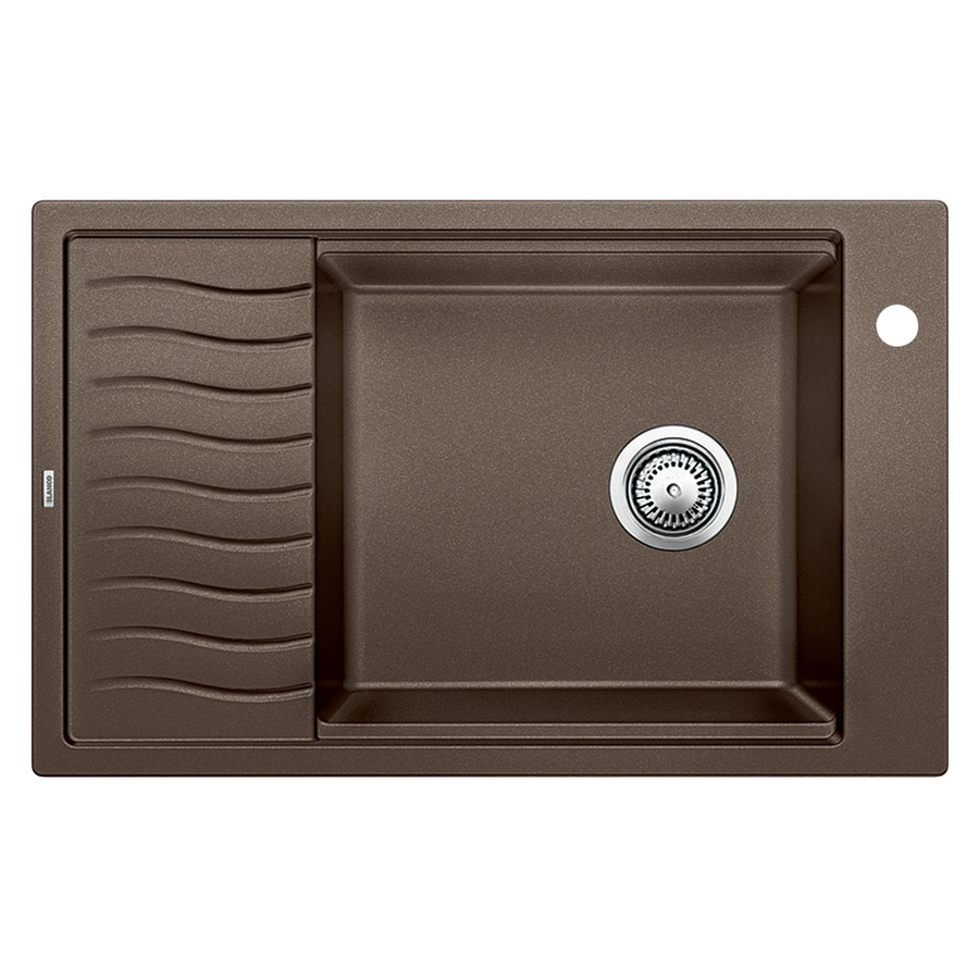 BLANCO Precis 19.6875-in x 30.6875-in Cafe Brown Single-Basin Granite Drop-in or Undermount 1-Hole Residential Kitchen Sink with Drainboard