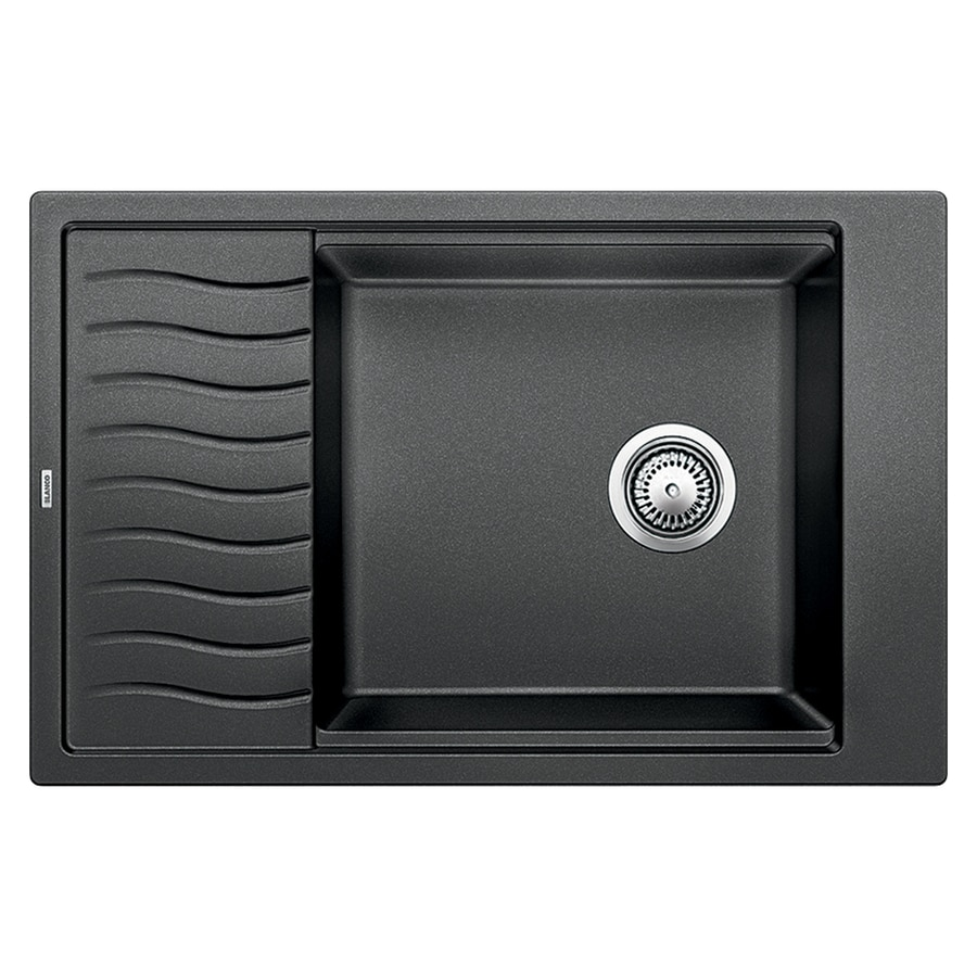 BLANCO Precis 19.6875-in x 30.6875-in Anthracite Single-Basin Granite Drop-in or Undermount 2-Hole Residential Kitchen Sink with Drainboard