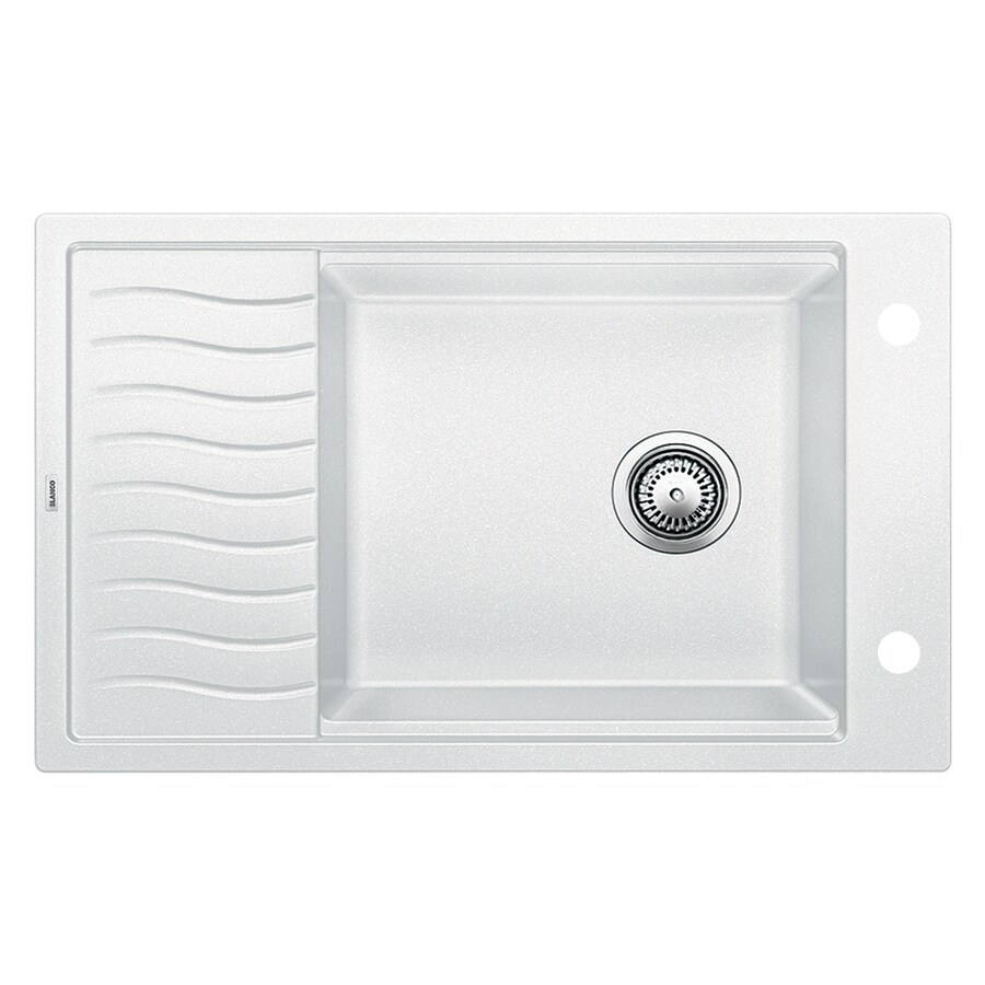 BLANCO Precis 19.6875-in x 30.6875-in White Single-Basin Granite Drop-in or Undermount 2-Hole Residential Kitchen Sink with Drainboard