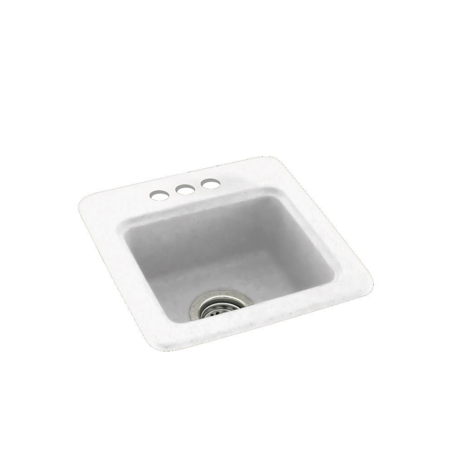 Swanstone White Single-Basin 3-Hole Composite Drop-In Residential Bar Sink