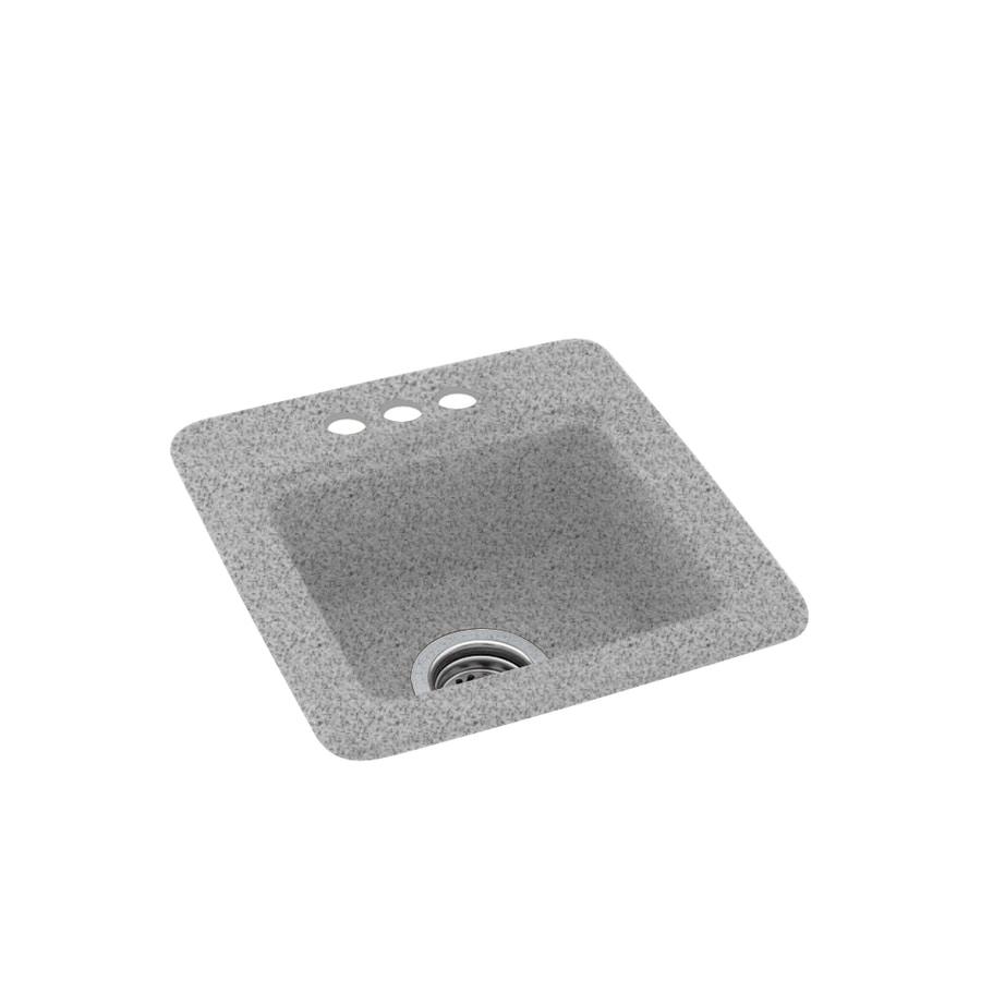 Swanstone Gray Granite Single-Basin 3-Hole Composite Drop-In Residential Bar Sink