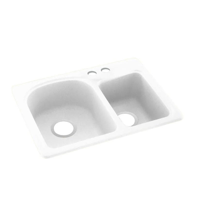 Swanstone 18-in x 25-in White Double-Basin Composite Drop-In 2-Hole Residential Kitchen Sink