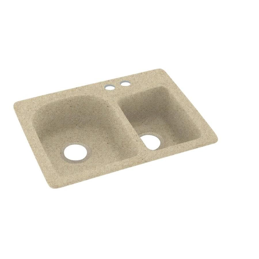 Swanstone 18-in x 25-in Prairie Double-Basin Composite Drop-In 2-Hole Residential Kitchen Sink