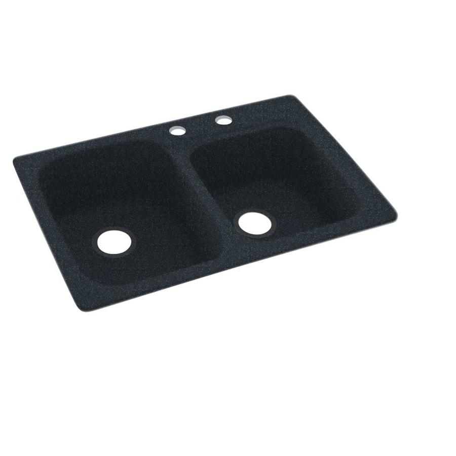 Shop Swanstone 33 In X 22 In Black Galaxy Double Basin