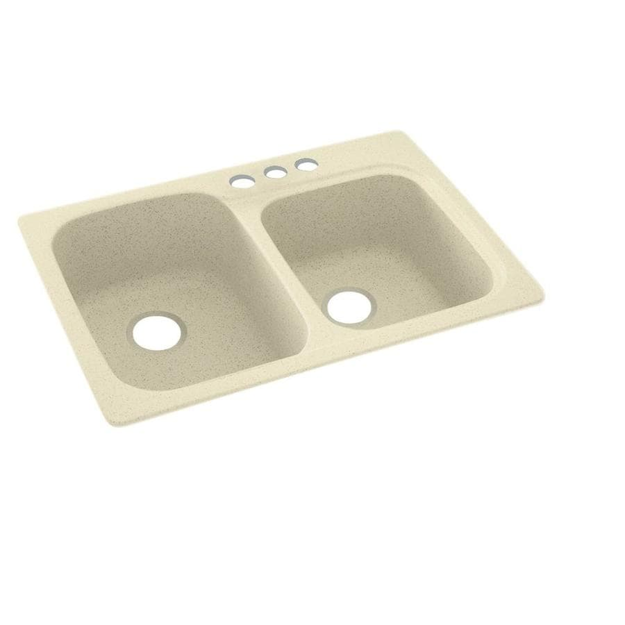 Swanstone 33-in x 22-in Bone Double-Basin Composite Drop-In 3-Hole Residential Kitchen Sink