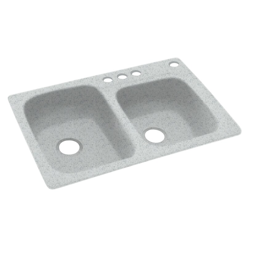Swanstone 33-in x 22-in Tahiti Gray Double-Basin Composite Drop-In 4-Hole Residential Kitchen Sink
