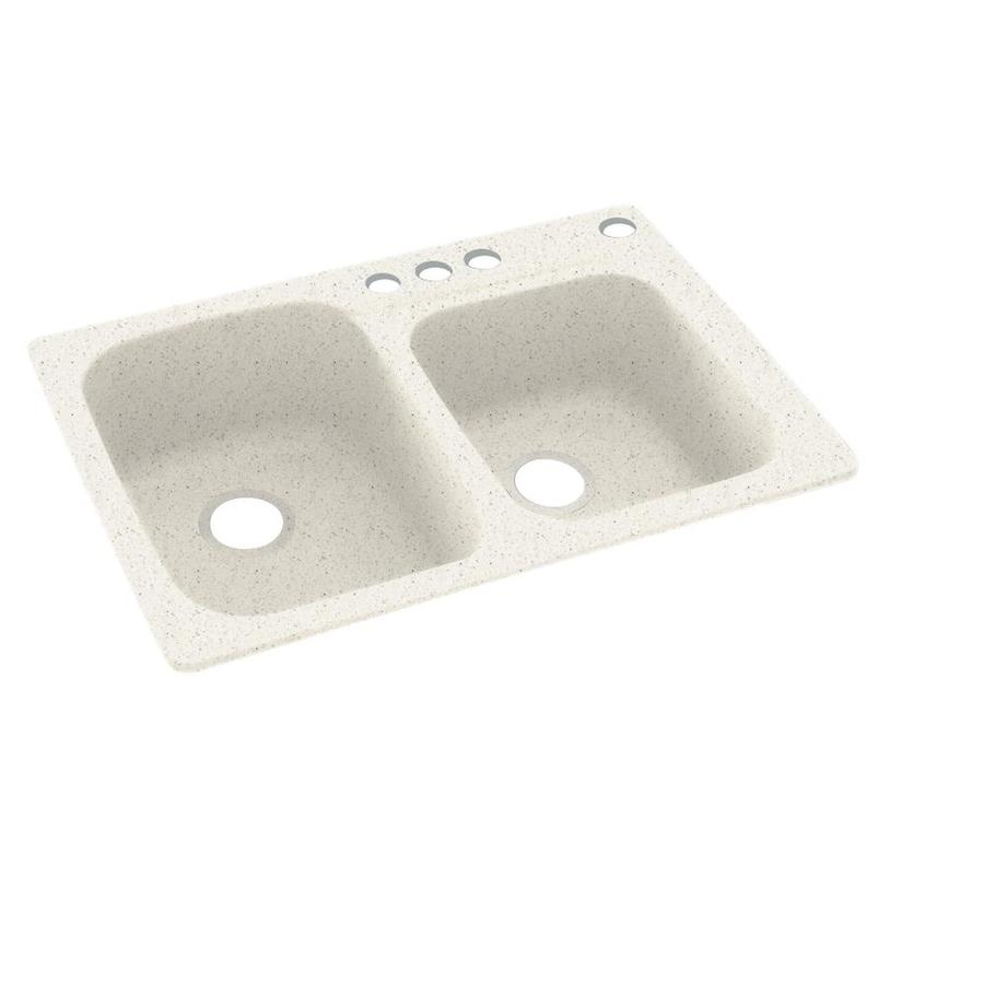Swanstone 33-in x 22-in Tahiti Matrix Double-Basin Composite Drop-In 4-Hole Residential Kitchen Sink