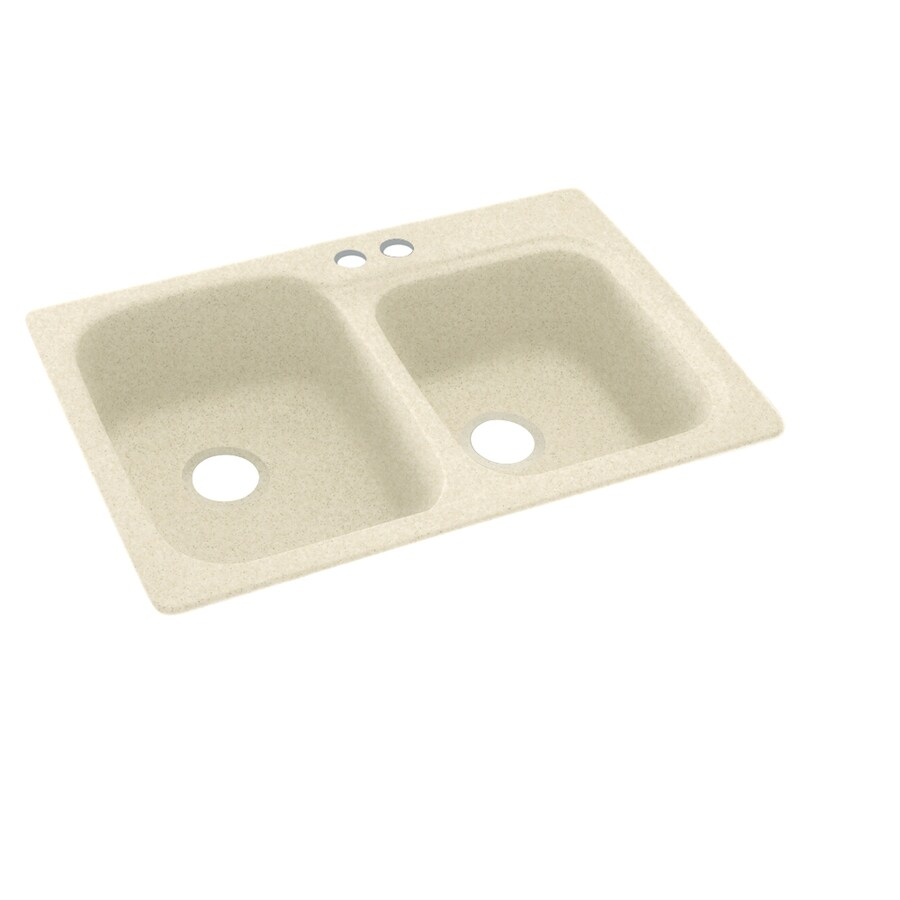 Swanstone 33-in x 22-in Cornflower Double-Basin Composite Drop-In 2-Hole Residential Kitchen Sink