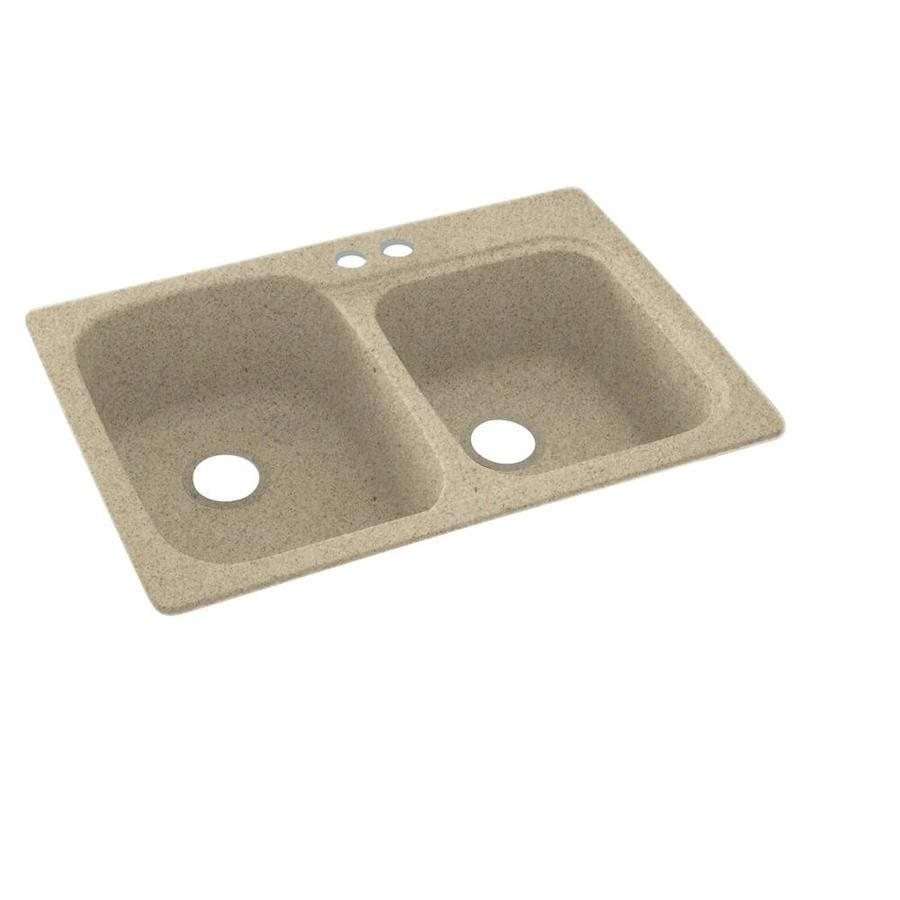 Swanstone 33-in x 22-in Prairie Double-Basin Composite Drop-In 2-Hole Residential Kitchen Sink