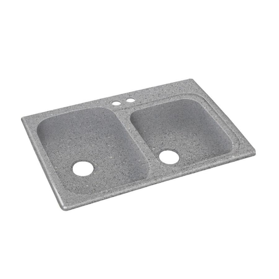 Swanstone 33-in x 22-in Canyon Double-Basin Composite Drop-In 2-Hole Residential Kitchen Sink