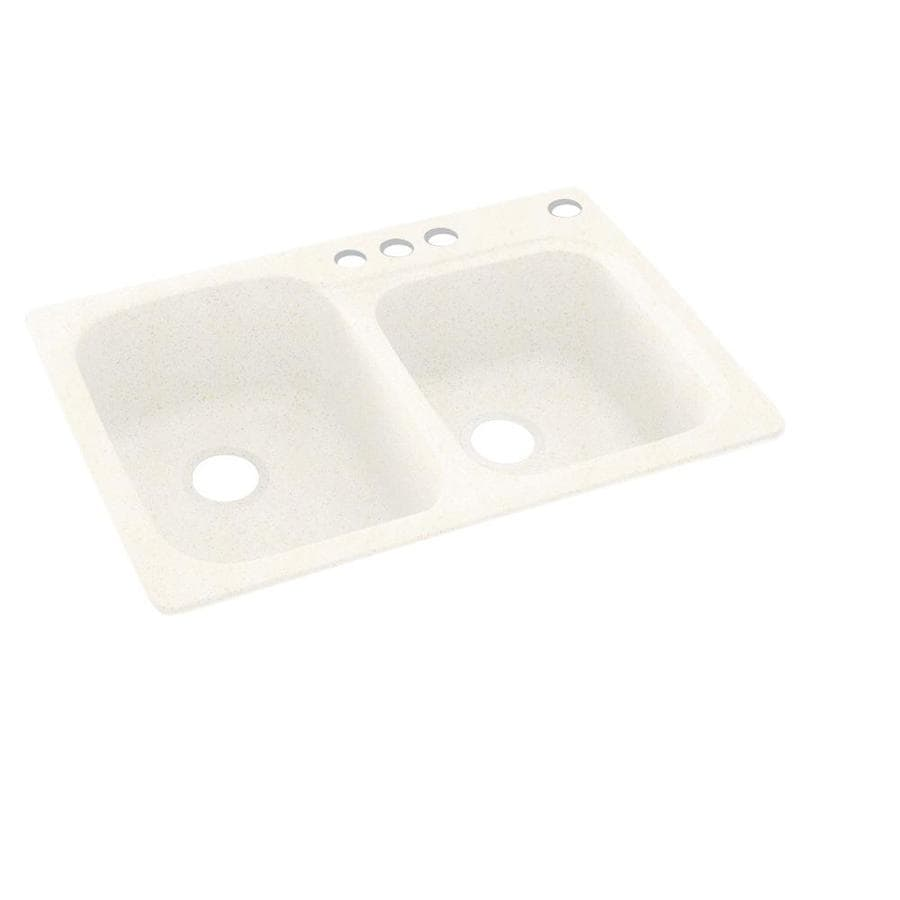 Swanstone 33-in x 22-in Baby's Breath Double-Basin Composite Drop-In 4-Hole Residential Kitchen Sink