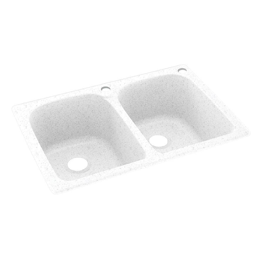 Swanstone 33-in x 22-in Arctic Granite Double-Basin Composite Drop-In 2-Hole Residential Kitchen Sink