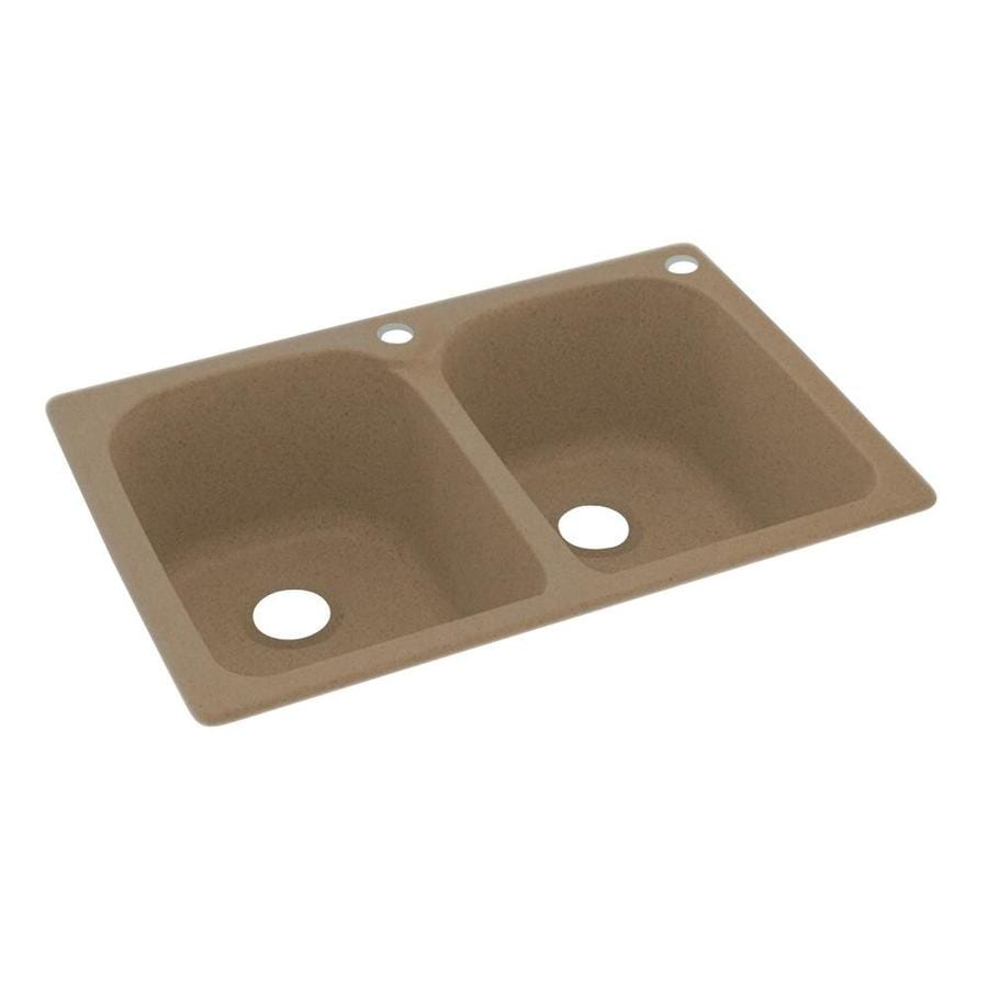 Swanstone 33-in x 22-in Barley Double-Basin Composite Drop-In 2-Hole Residential Kitchen Sink