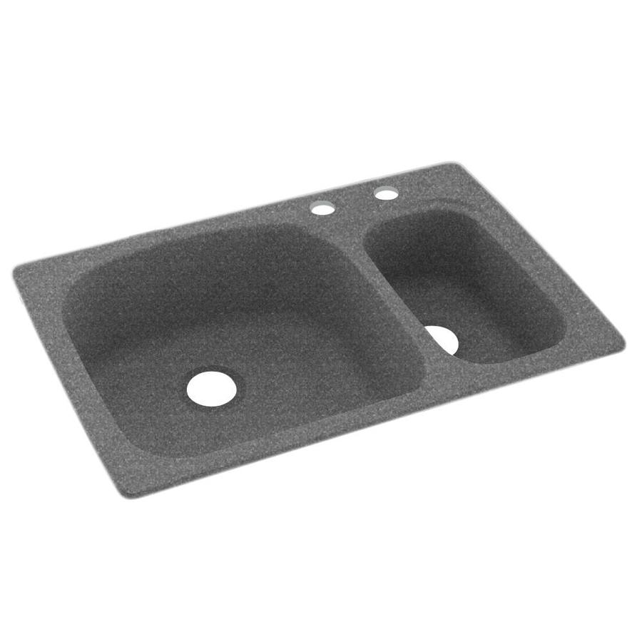 Swanstone 33-in x 22-in Night Sky Double-Basin Composite Drop-In 2-Hole Residential Kitchen Sink