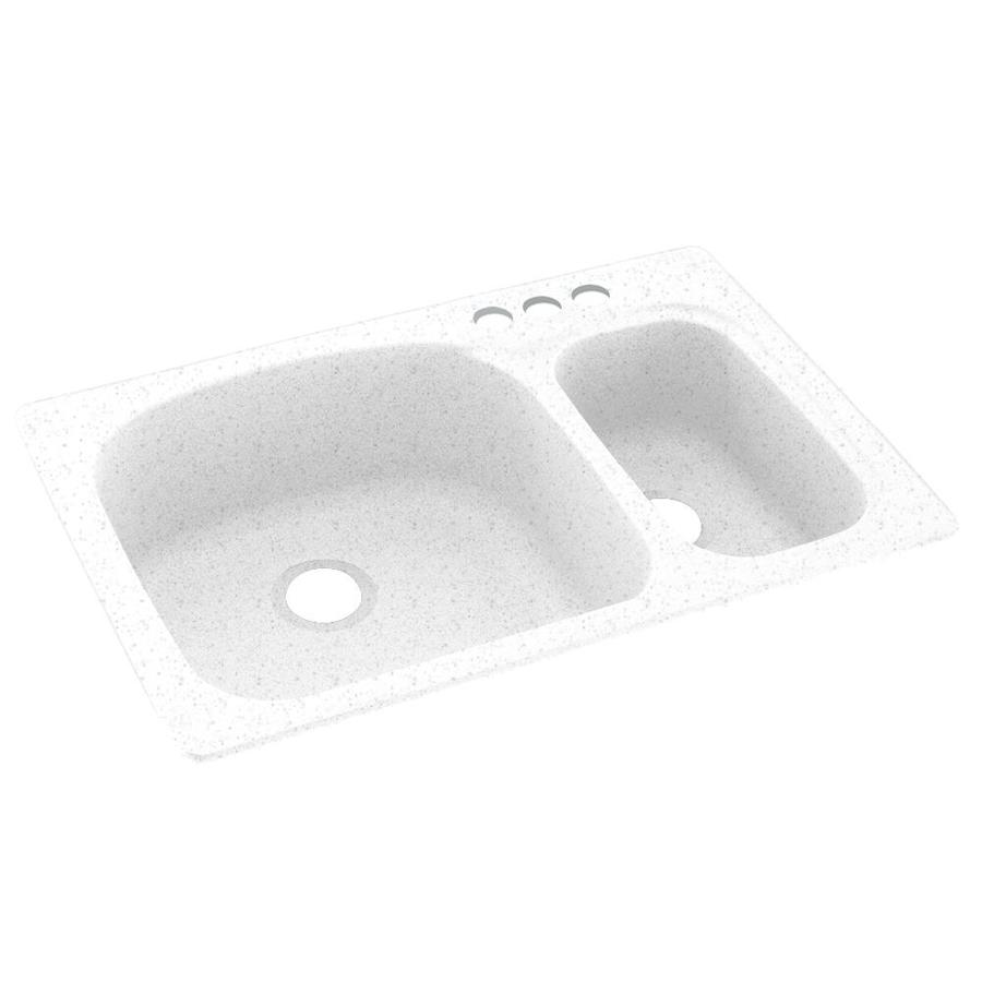 Swanstone 33-in x 22-in Arctic Granite Double-Basin Composite Drop-In 3-Hole Residential Kitchen Sink