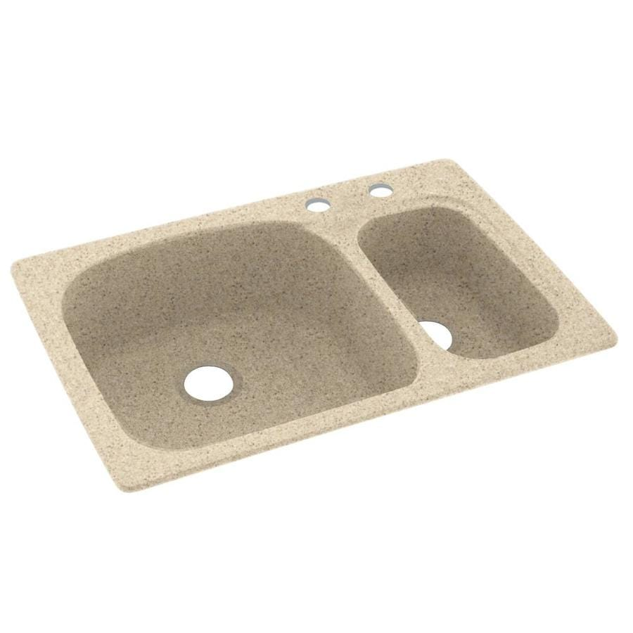 Swanstone 33-in x 22-in Bermuda Sand Double-Basin Composite Drop-In 2-Hole Residential Kitchen Sink