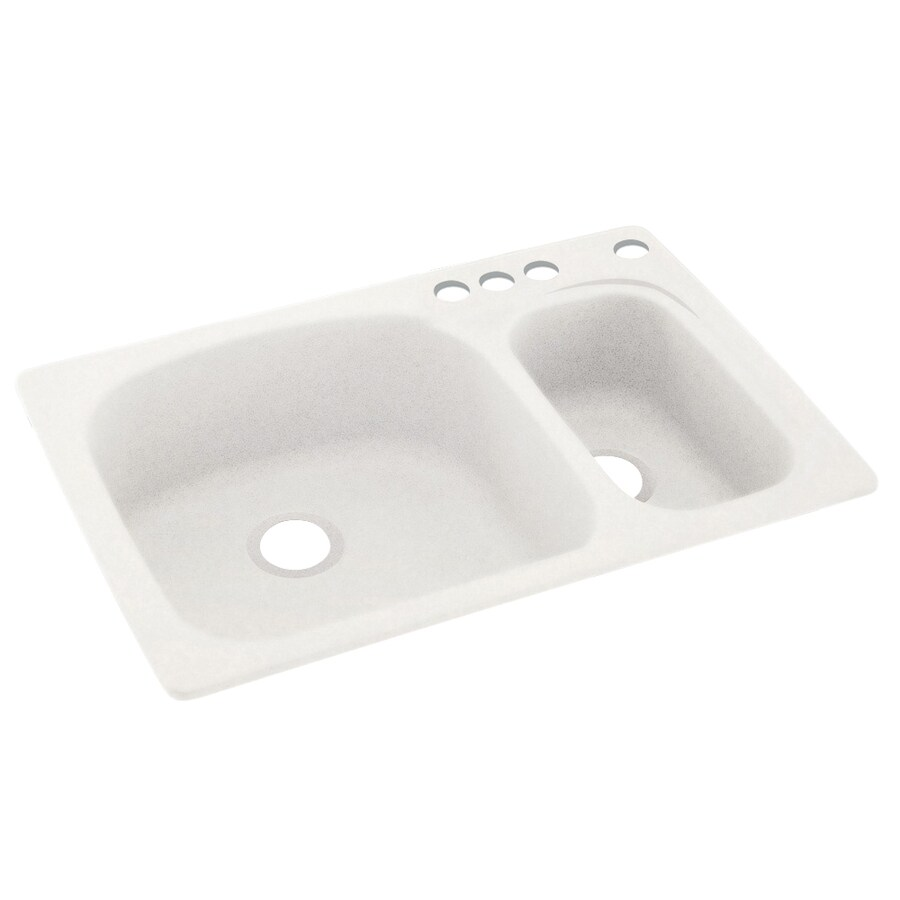 Swanstone 33-in x 22-in Tahiti Ivory Double-Basin Composite Drop-In 4-Hole Residential Kitchen Sink