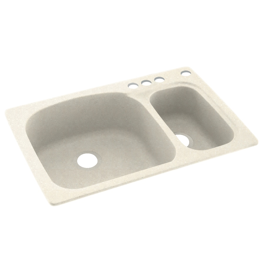 Swanstone 33-in x 22-in Pebble Double-Basin Composite Drop-In 4-Hole Residential Kitchen Sink