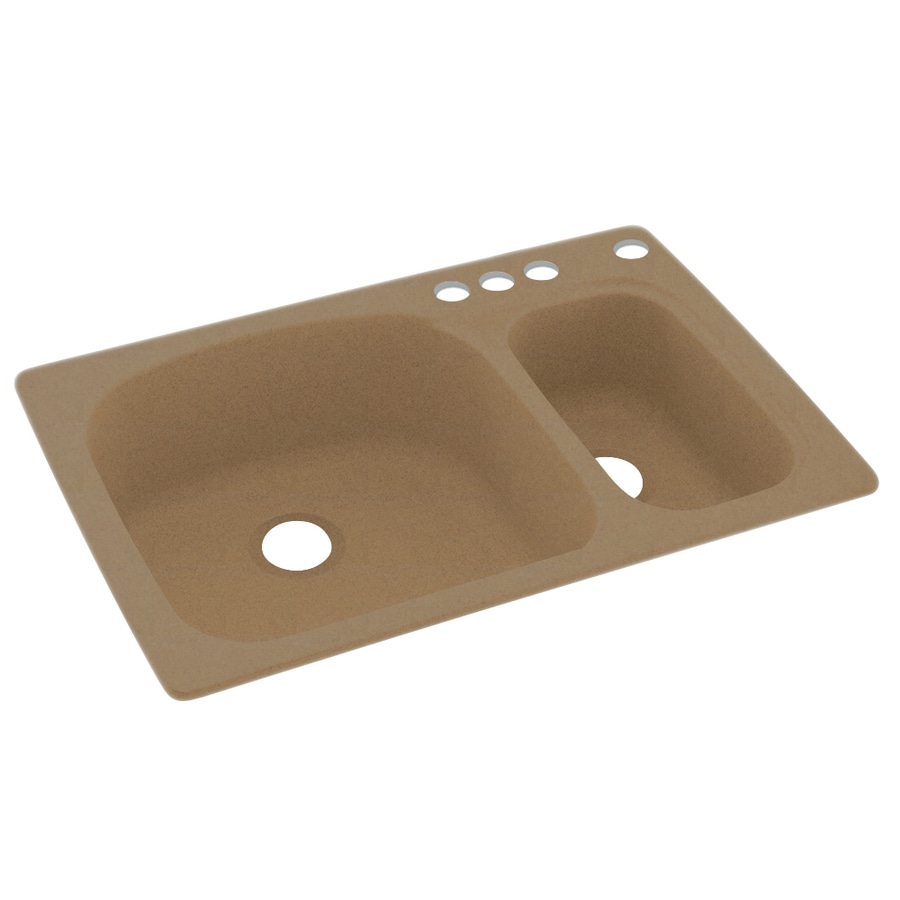 Swanstone 33-in x 22-in Barley Double-Basin Composite Drop-In 4-Hole Residential Kitchen Sink