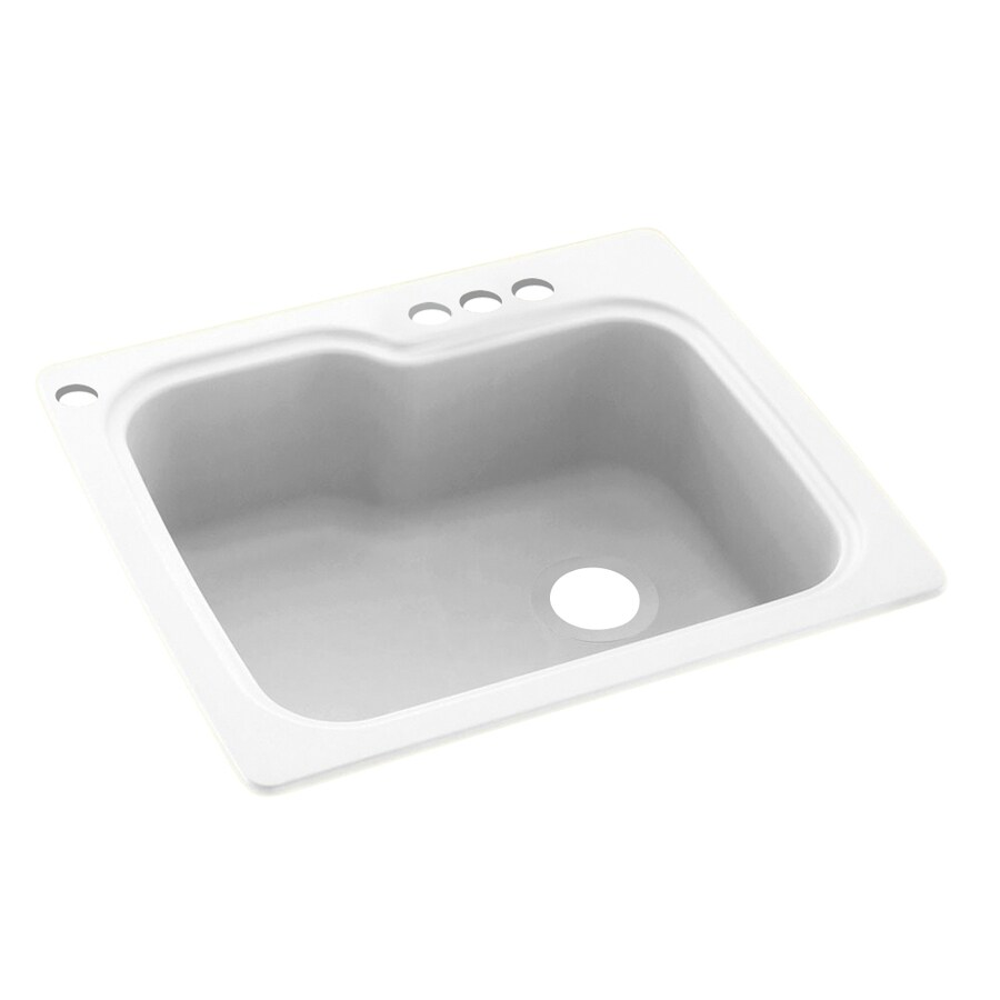 Swanstone 25-in x 22-in White Single-Basin Composite Drop-In 4-Hole Residential Kitchen Sink