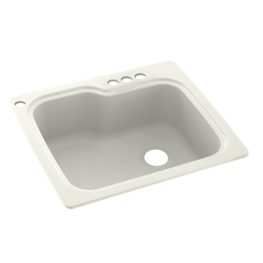Swanstone 25-in x 22-in Bisque Single-Basin Composite Drop-In 4-Hole Residential Kitchen Sink