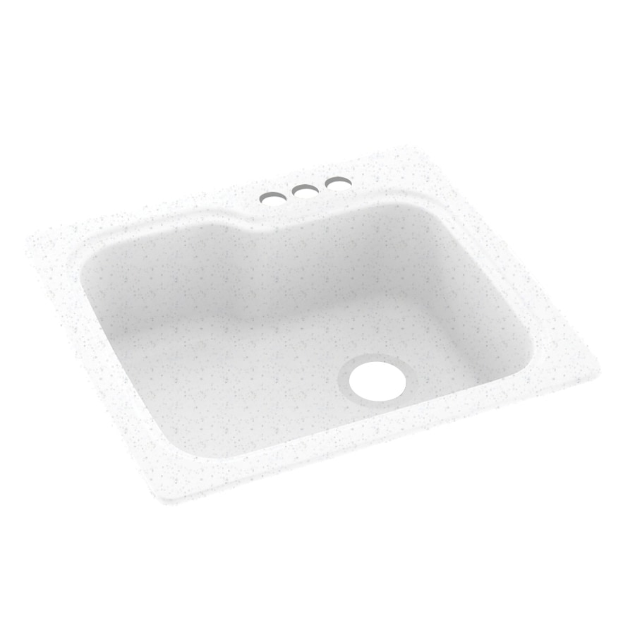 Swanstone 25-in x 22-in Arctic Granite Single-Basin Composite Drop-In 3-Hole Residential Kitchen Sink