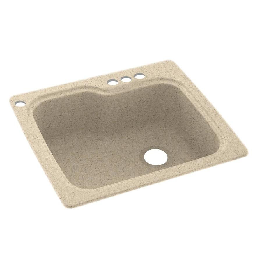 Swanstone 25-in x 22-in Bermuda Sand Single-Basin Composite Drop-In 4-Hole Residential Kitchen Sink