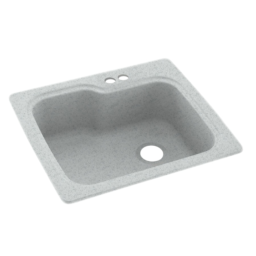 Swanstone 25-in x 22-in Tahiti Gray Single-Basin Composite Drop-In 2-Hole Residential Kitchen Sink