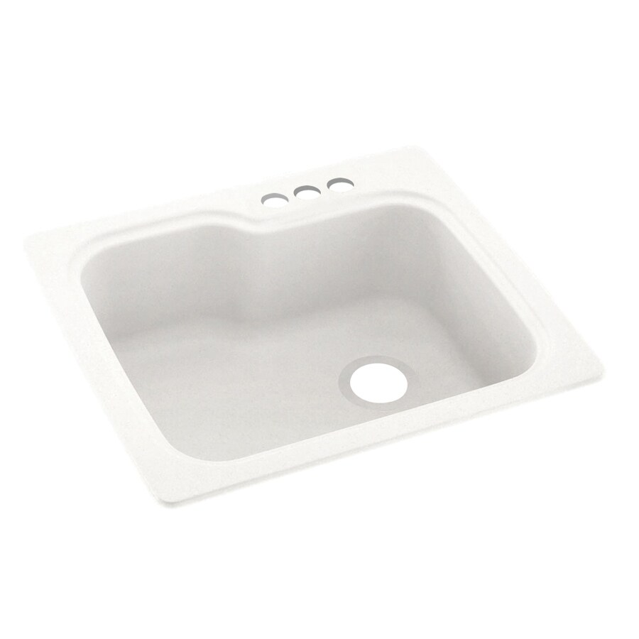 Swanstone 25-in x 22-in Tahiti Ivory Single-Basin Composite Drop-In 3-Hole Residential Kitchen Sink
